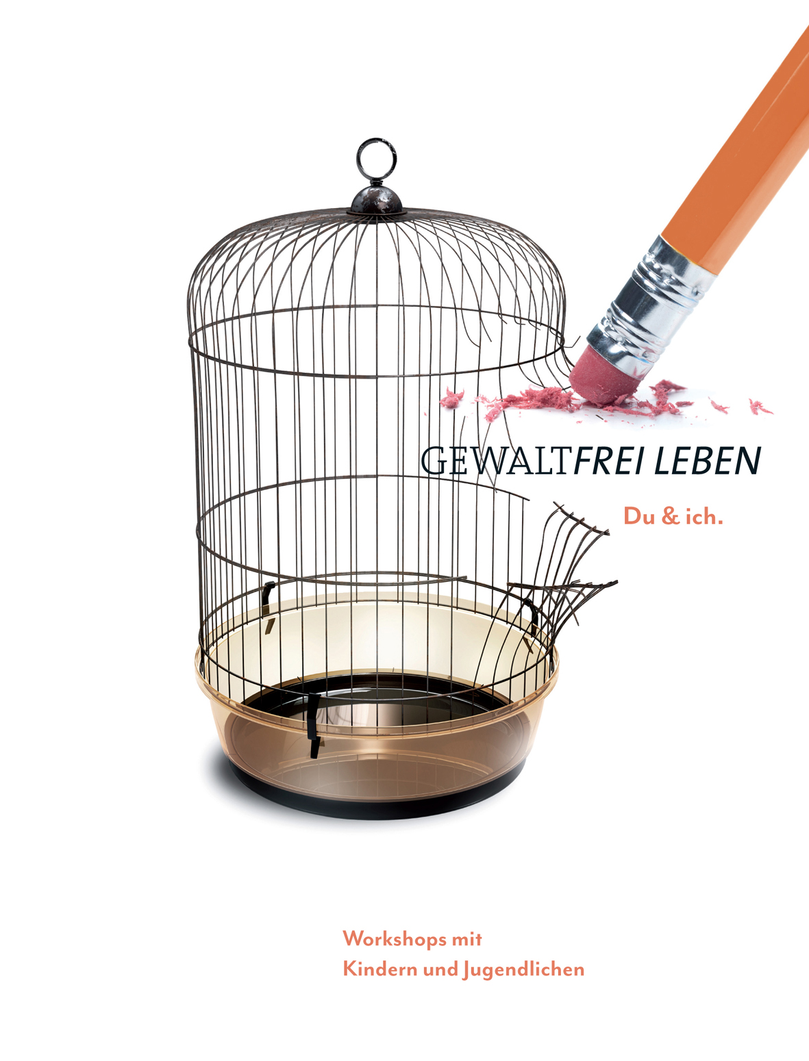 Aufgebrochener Vogelkäfig mit Radiergummi auf Bleistift, der Gitterstäbe wegradiert