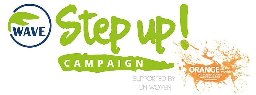 Logo der Kampagne in Step Up in grüner Schrift