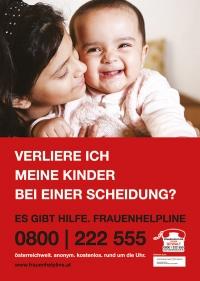 """Frauenhelpline - Plakat / Freecard """"Verliere ich meine Kinder?"""""""